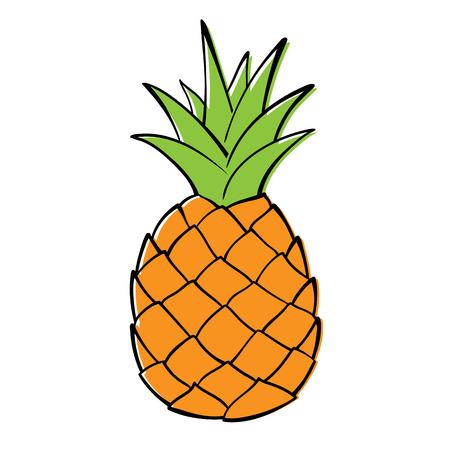 Single pineapple on white background. Ilustracja