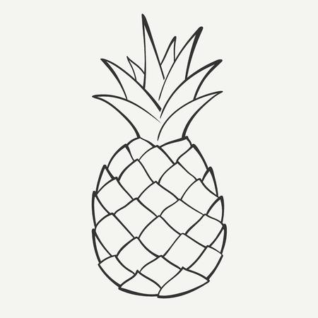 Schetsen zwart-wit beeld van een ananas Stock Illustratie