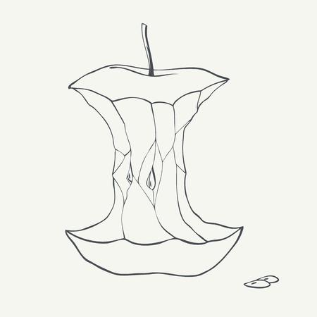 Zwart-wit appel kern illustratie.
