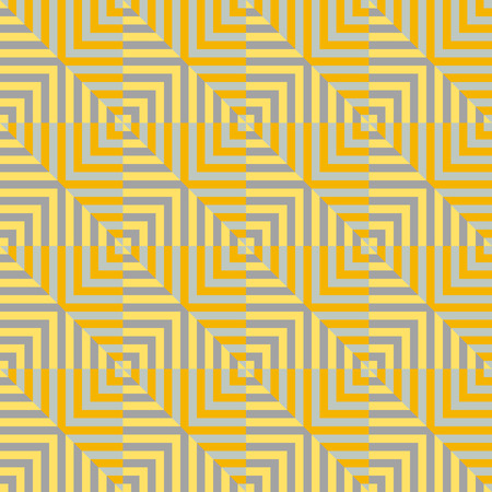 right angled: square striped seamless geometric pattern in yellow and orange colors. Vector.