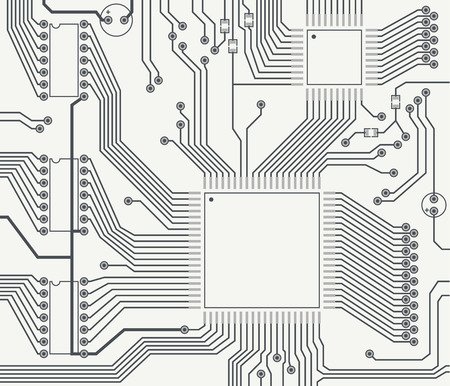 Monochrome image of fragment of printed circuit board with the contact pads.