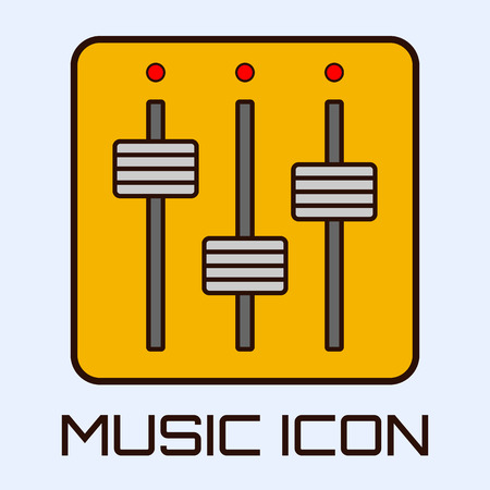Flat musical icon of mixing console. Vector graphics.