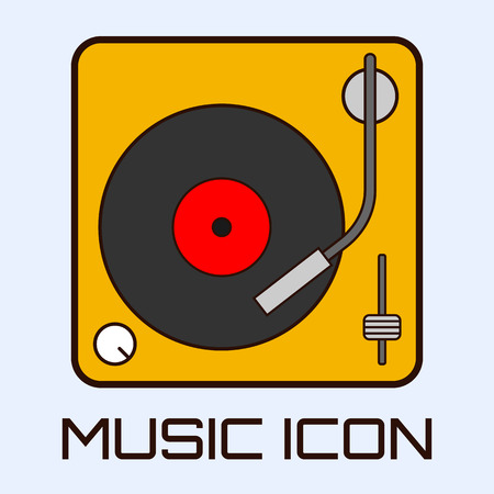 deck: Flat musical icon of vinyl deck. Vector graphics.