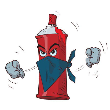 Cartoon angry spray can in a mask threatens fists. Vector illustration.