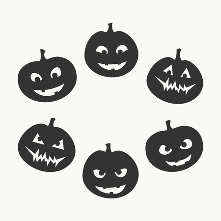 good and evil: Halloween set of six silhouettes of jack-o-lantern with a different facial expression, from good to evil, black on white background. Vector graphics. Illustration