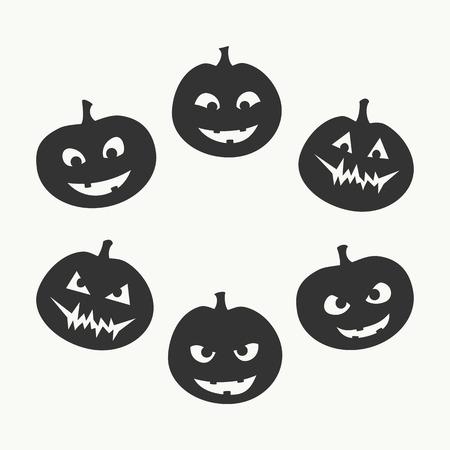 Halloween set van zes silhouetten van jack-o'-lantern met een andere gezichtsuitdrukking, van goed naar kwaad, zwart op een witte achtergrond. Vector graphics.