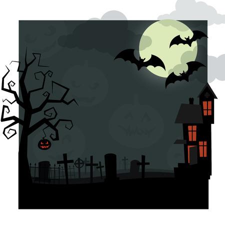 Halloween nacht. Droge boom, met jack-o'-lantaarn opknoping op, oude begraafplaats bedekt met mist, de vleermuizen vliegen op de achtergrond een grote maan in de wolken, en een verlaten huis, ramen die oranje gloed. Stock Illustratie