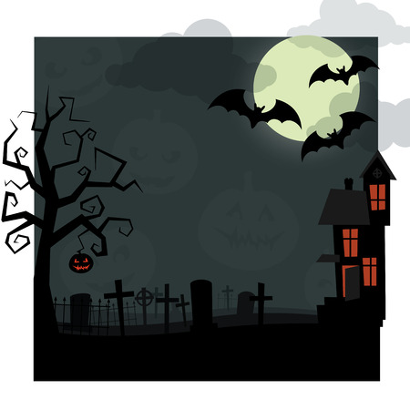 Halloween night. Dry tree, with jack-o-lantern hanging on it, old cemetery covered with mist, the bats flying on background a big moon in the clouds, and an abandoned house, windows that glow orange.