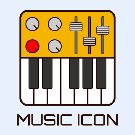 fader: Flat musical icon of midi keyboard or electric piano. Vector graphics.