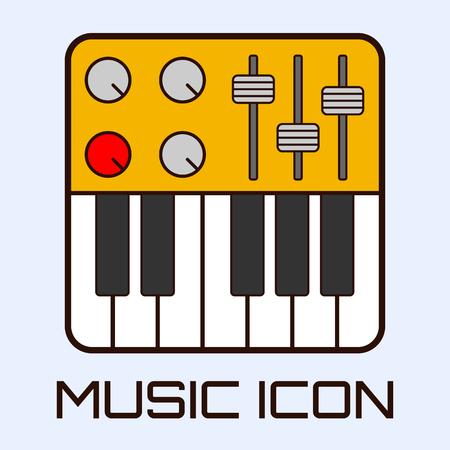 Flat muzikale icoon van midi-keyboard of een elektrische piano. Vector graphics.