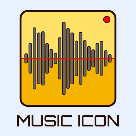 waveform: Flat musical icon of audio waveform indicator. Vector graphics.