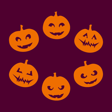 good and evil: Halloween set of six silhouettes of jack-o-lantern with a different facial expression, from good to evil, orange on violet background. Vector graphics.