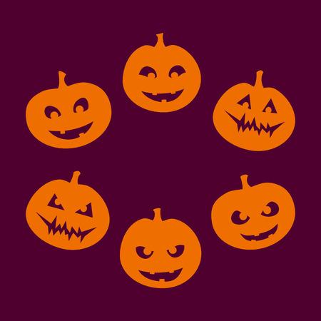 Halloween set van zes silhouetten van jack-o'-lantern met een andere gezichtsuitdrukking, van goed naar kwaad, oranje op paarse achtergrond. Vector graphics.