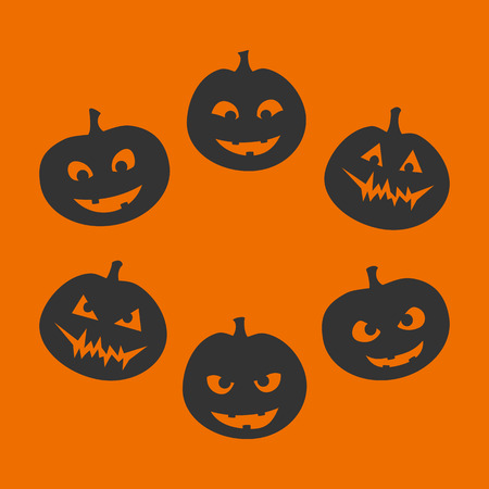 expression facial: Halloween set of six silhouettes of jack-o-lantern with a different facial expression, from good to evil, black on orange background. Vector graphics.