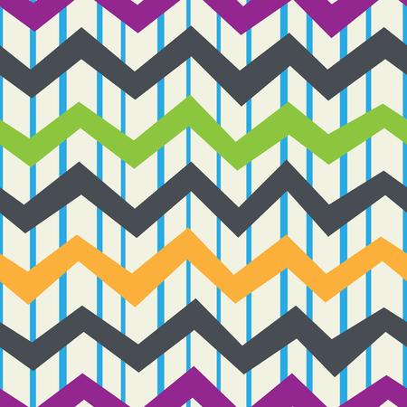 Retro naadloos patroon van verticale banden en horizontale zigzag. Uitstekende achtergrond. Vector. Stock Illustratie