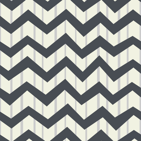 Monochrome seamless pattern of vertical bands and horizontal zigzags. Vintage background. Vector.