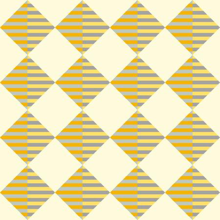 Ruitvormige gestreepte naadloze geometrisch patroon in geel en oranje kleuren. Vector.