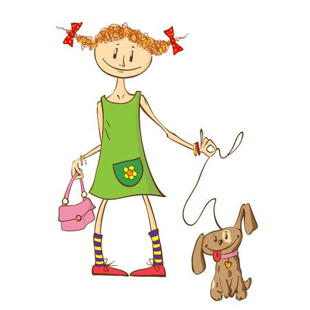 Little ginger girl in a green dress with a handbag walks her puppy