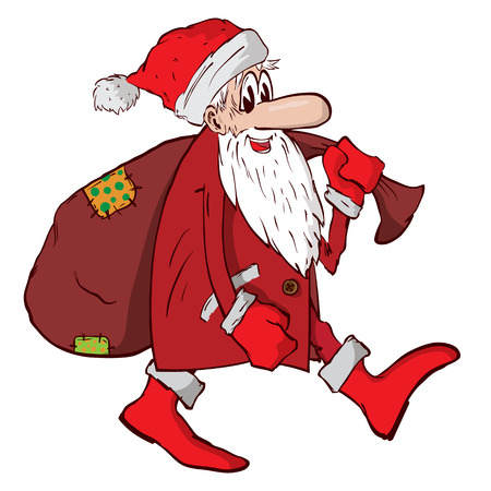 Santa Claus carries a big red bag with gifts.