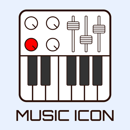 fader: Lineart musical icon of midi keyboard or electric piano, white on light blue background. Vector graphics. Illustration