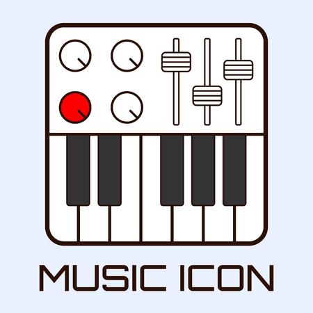 Lineart muzikale icoon van midi-keyboard of een elektrische piano, wit op lichtblauwe achtergrond. Vector graphics.