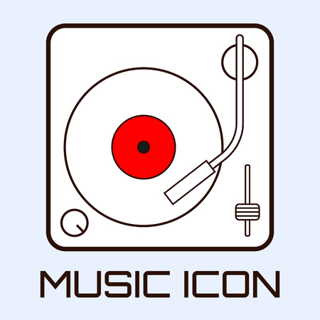 Lineart musical icon of vinyl deck, white on light blue background. Vector graphics