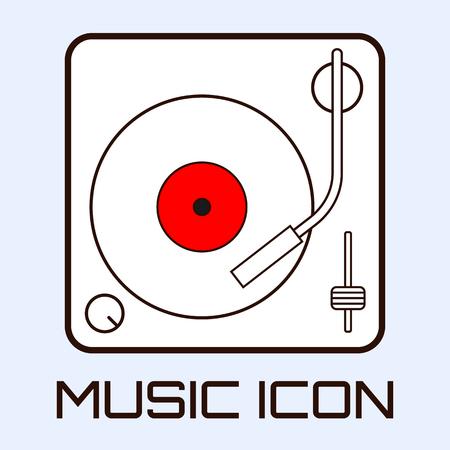 Lineart muzikale icoon van vinyl dek, wit op lichtblauwe achtergrond. vector graphics Stock Illustratie