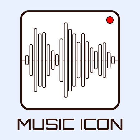 Lineart musical icon of audio waveform indicator, white on light blue background. Vector graphics.
