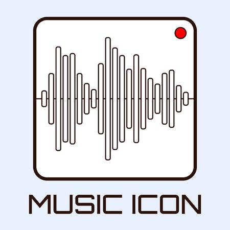 Lineart muzikale icoon van audio golfvorm indicator, wit op lichtblauwe achtergrond. Vector graphics.