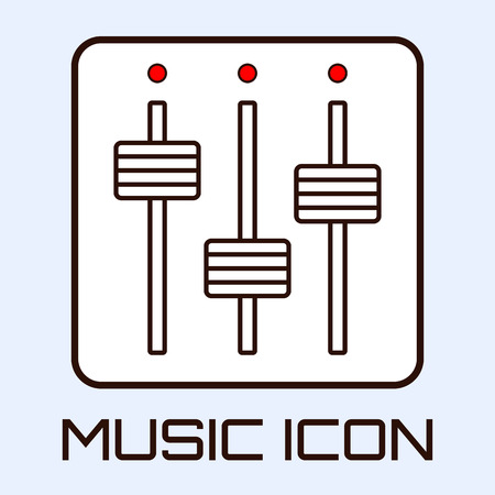 Lineart musical icon of mixing console, white on light blue background. Vector graphics