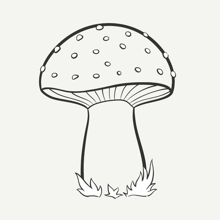 Cartoon black and white hand-drawn image of a spotted mushroom. Vector graphics.