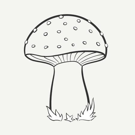 Cartoon hand getekende afbeelding van een bevlekte paddestoel zwart en wit. Vector graphics.