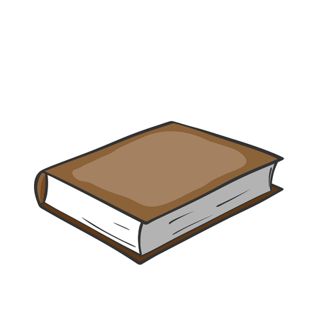 Cartoon brown book on white background. Vector graphics.