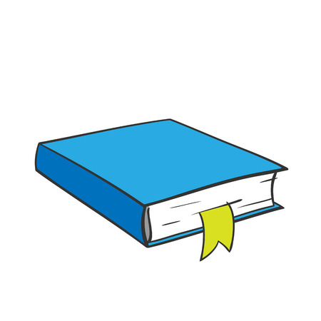 Cartoon blue book with yellow bookmark on white background. Vector graphics.