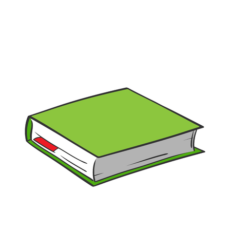 Cartoon green book with red bookmark on white background. Vector graphics.