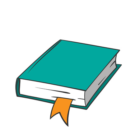 Cartoon green book with orange bookmark on white background. Vector graphics.