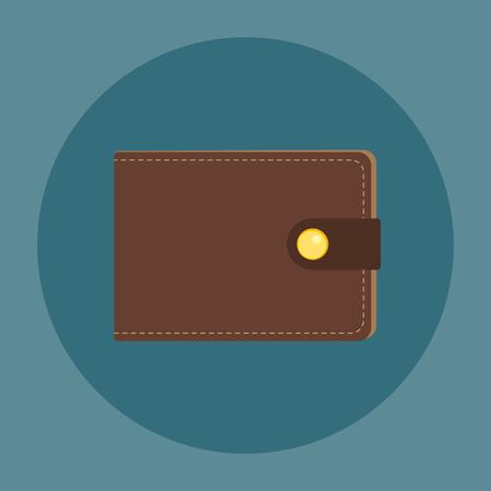 Bruine lederen portemonnee. Flat zakelijke vector icon. Geld symbool.