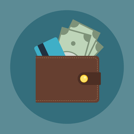 Brown leather wallet with some dollars and credit card in it. Flat business vector icon. Money symbol.