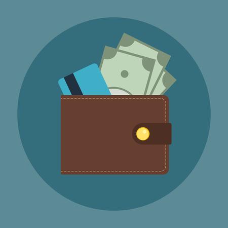 Bruine lederen portemonnee met enkele dollars en een creditcard in het. Flat zakelijke vector icon. Geld symbool.