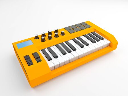 Yellow two octave midi keyboard with pads and rotary knobs on white background. Low poly 3d rendering.