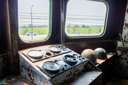 Control panel inside the ancient train