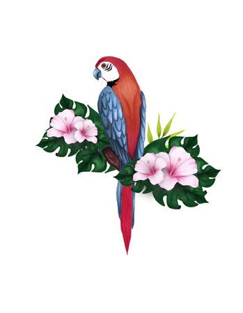 Hand-drawn illustration of a sitting on a branch parrot, hibiscus, palm tree, rose and green leaves. Tropical element. Banco de Imagens