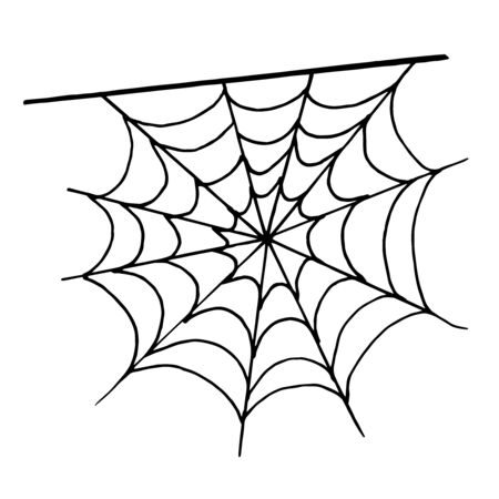 Halloween monochrome spider web on white background. Vector illustration isolated spooky background for october night party.