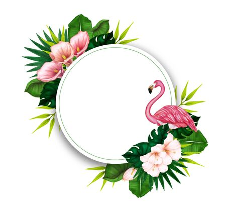 Bouquet with pink flamingo and hibiscus flowers with pink petals, tropical leaves, and floral elements on white background.