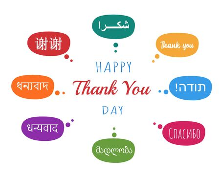 conceptual abstract thank you word cloud in different languages or multilingual for education or thanksgiving day, metaphor to appreciation, multicultural, friendship, tourism travel