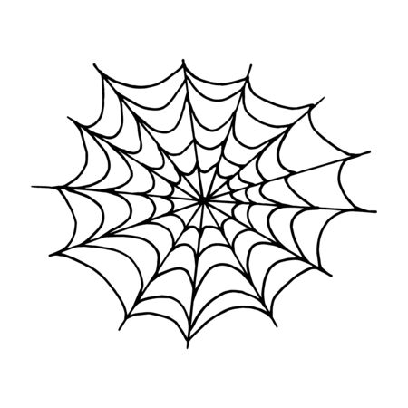Toile d'araignée monochrome Halloween sur fond blanc. Illustration vectorielle isolé fond fantasmagorique pour la fête de nuit d'octobre. Élément décoratif pour cartes d'invitation, textile, impression et design.