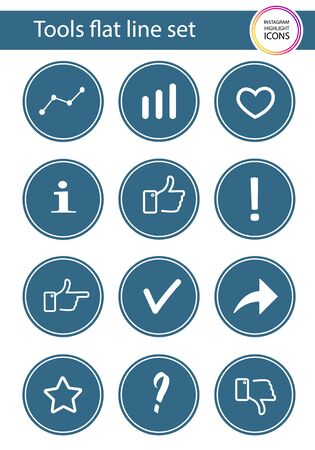 Set of 12 icons in blue circle for web stores, scrap booking, bullet journals, blogging, etc. Instagram Highlights Stories Icons.