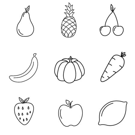 Set of flat fruits and vegetables icons drawing with black lines on white background. Decorative element for invitations your design.