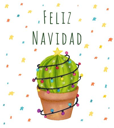 Merry Christmas banner. Happy cactus in a Christmas garland. Cute Navidad greeting card, print, label, poster, sign.