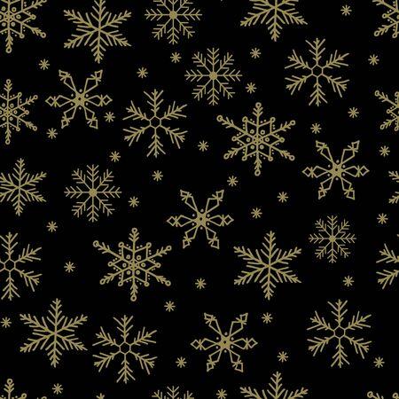 Śnieżynka prosty wektor wzór. Złoty śnieg na czarnym tle. Streszczenie tapeta i ozdoba do pakowania. Symbol zimy, Wesołych Świąt Bożego Narodzenia, obchody szczęśliwego nowego roku. Ilustracje wektorowe